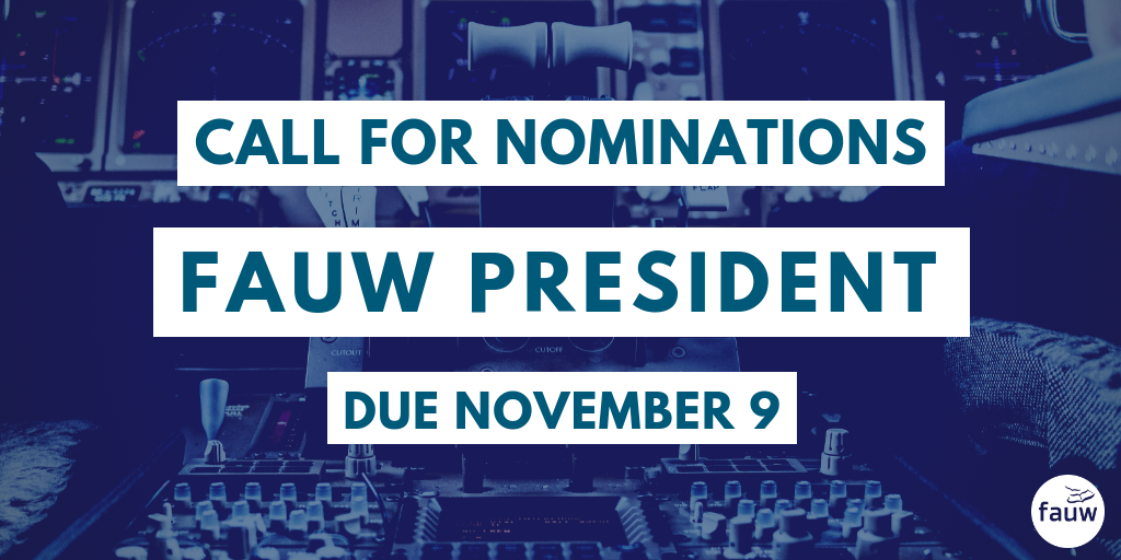 Call for nominations: FAUW president. Due November 9.