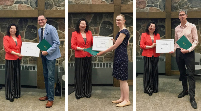 Corey Johnson, Sarah Lau, and Benoit Charbonneau accepting their awards from Equity Committee chair Weizhen Dong