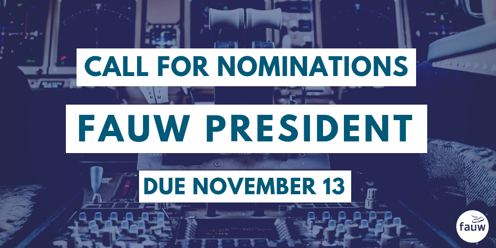 Call for nominations. FAUW president. Due November 13.