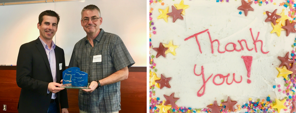 "Left: Bryan Tolson with Stewart Forrest and his award. Right: Cake with yellow and purple stars and the words ""thank you!"""