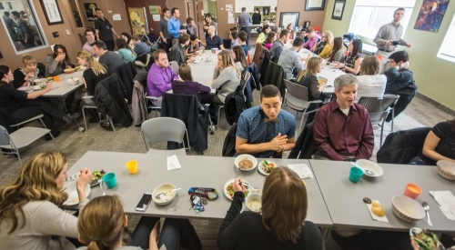 Students, staff, and faculty gathered at the Waterloo Indigenous Student Centre for soup and bannock