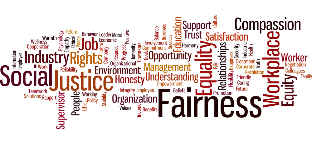 Cluster of words related to fairness at work