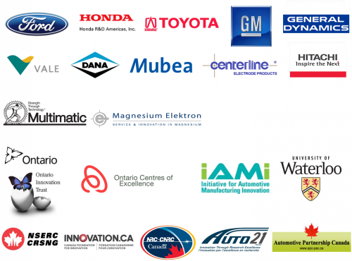 Toyota, GM, Honda, General Dynamics, Hitachi, Vale, Dana, Mubea, Centerline, Multimatic, Ontario Innovation Trust, Ontario Centres of Excellence, IAMI, University of Waterloo, Magnesium Elektron, Ford, NSERC CRSNG, Canada Foundation for Innovation, NRC CNRC, Auto 21, Automotive Partnership Canada
