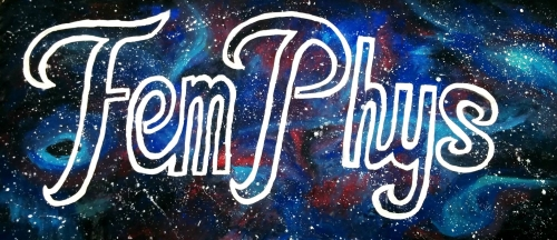 FemPhys in curly white letters on a black, red, and blue galaxy background splattered with white stars.