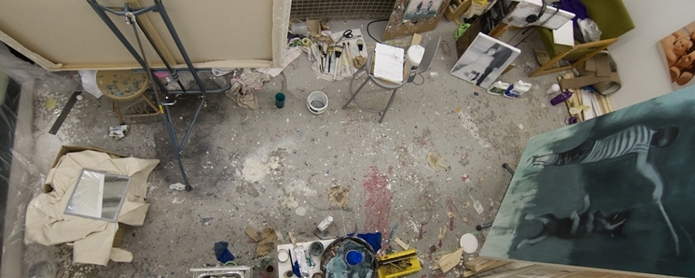 Looking down into a graduate student's studio