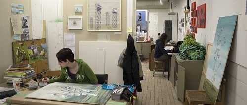 Students working in the studio
