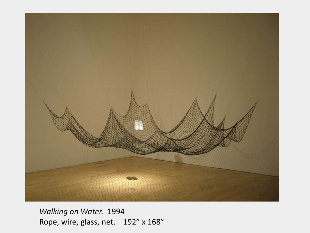 """Artwork by Lois Andison. Walking on Water. 1994. Rope, wire, glass, net. 192"""" x 168"""""""