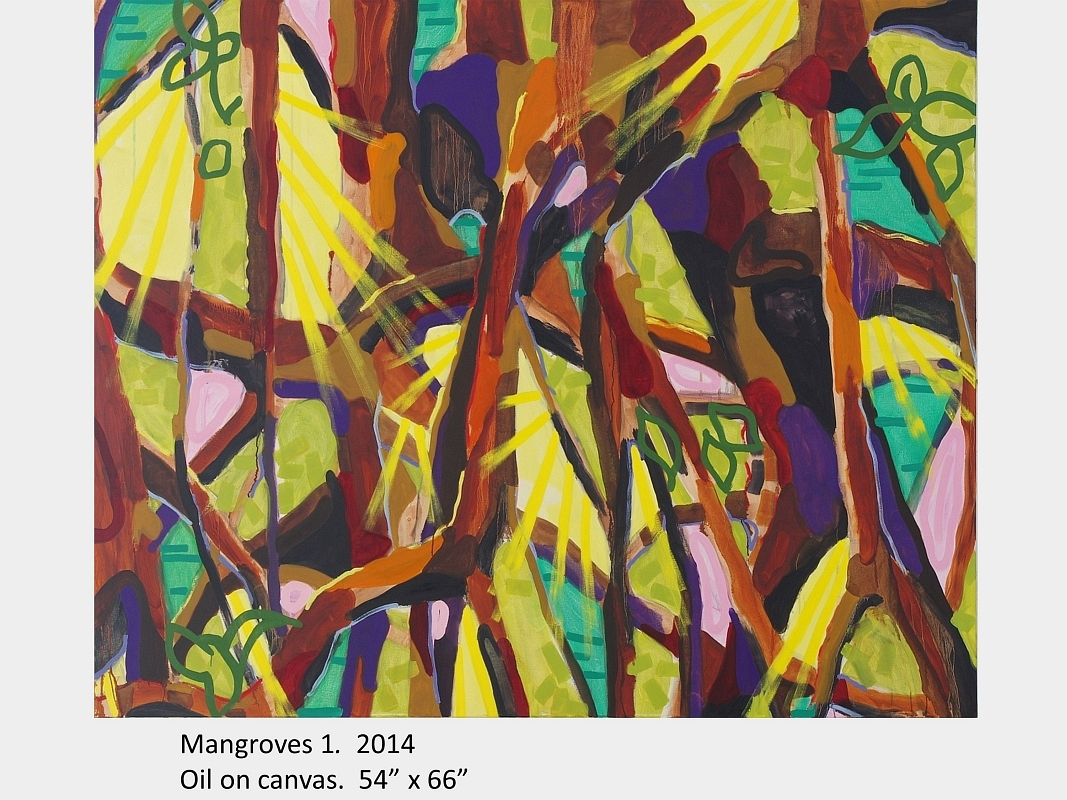 "Artwork by David Blatherwick. Mangroves 1. 2014. Oil on canvas. 54"" x 66"""