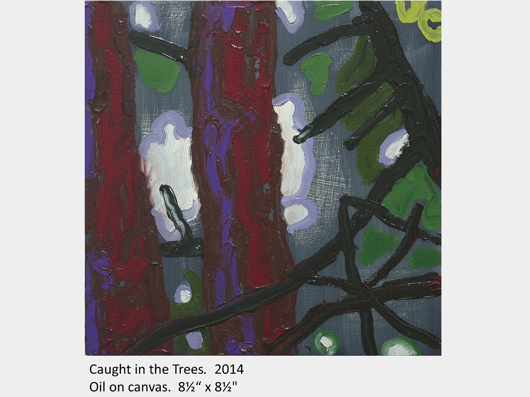 "Artwork by David Blatherwick. Caught in the Trees. 2014. Oil on canvas. 8½"" x 8½"""
