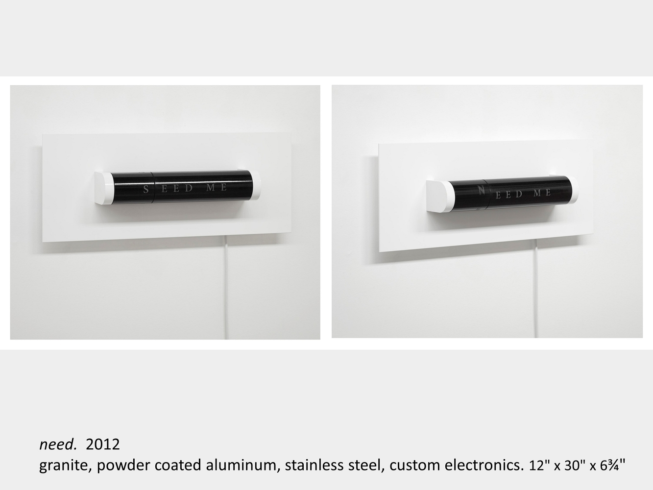 """Artwork by Lois Andison. Need. 2012. granite, powder coated aluminum, stainless steel, custom electronics. 12"""" x 30"""" x 6¾"""""""