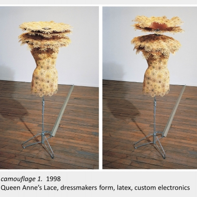 Artwork by Lois Andison. Camouflage 1. 1998. Queen Anne's Lace, dressmakers form, latex, custom electronics