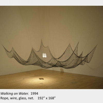 "Artwork by Lois Andison. Walking on Water. 1994. Rope, wire, glass, net. 192"" x 168"""
