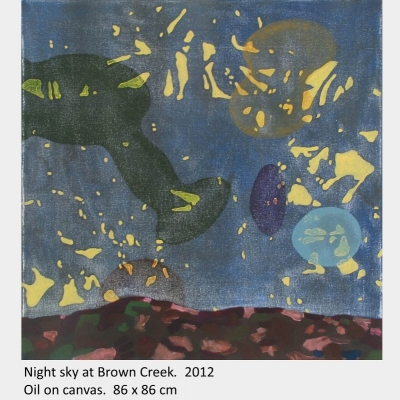 Artwork by David Blatherwick. Night sky at Brown Creek. 2012. Oil on canvas.86 x 86 cm
