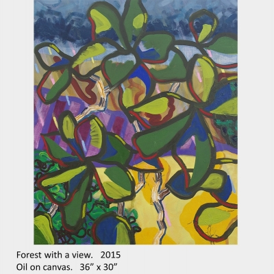 """Artwork by David Blatherwick. Forest with a view. 2015. Oil on canvas. 36"""" x 30"""""""