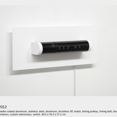 Artwork by Lois Andison.  need.  2012, Granite, powder-coated aluminum, stainless steel, aluminum, brushless DC motor