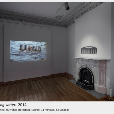 Artwork by Lois Andison.  threading water.  2014, Single-channel HD video projection (sound). 11 minutes, 52 seconds