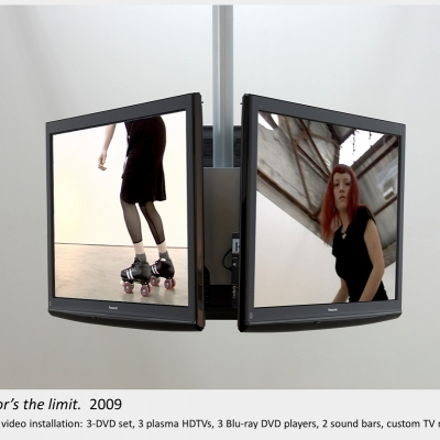 Artwork by Lois Andison.  the floor's the limit.  2009, 3-channel video installation: 3-DVD set, 3 plasma HDTVs, 3 DVD playe