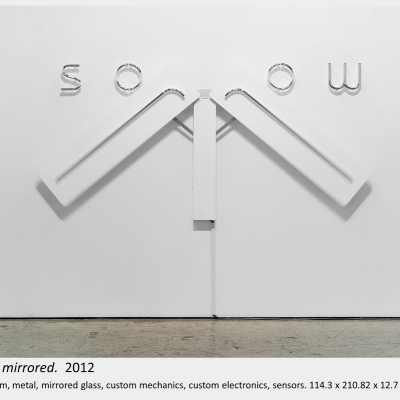 Artwork by Lois Andison.  sorrow mirrored.  2012, wood, foam, metal, mirrored glass, custom mechanics, custom electronics