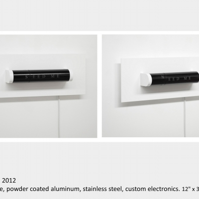 "Artwork by Lois Andison. Need. 2012. granite, powder coated aluminum, stainless steel, custom electronics. 12"" x 30"" x 6¾"""