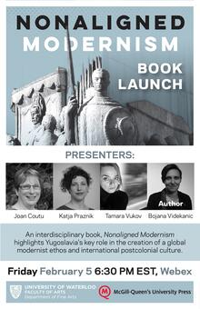 Poster for Nonaligned Modernism book launch with sculpture of military figure and photographs of four presenters