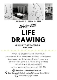 Poster for winter 2018 life drawing sessions