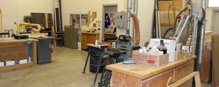 View of the wood shop in East Campus Hall.
