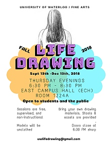 Poster for fall 2018 life drawing sessions