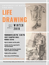 Poster for winter 2019 life drawing sessions