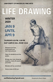 Poster for winter 2020 life drawing sessions