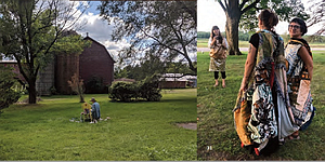 Left photo shows person sitting on the ground in front of a barn and surround by trees, photo on right show two people posing
