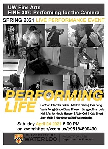 Poster for Performance Life. Final presentations of the performances from FINE 307