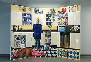 "Alcove (Marie in the kitchen). 2019-2020. Oil on canvas, hinges. Each panel 47"" x 90"""