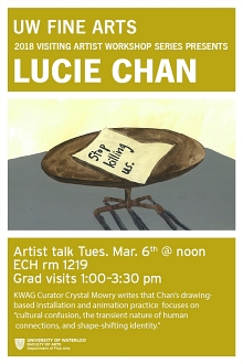 Poster for Lucie Chan's artist talk