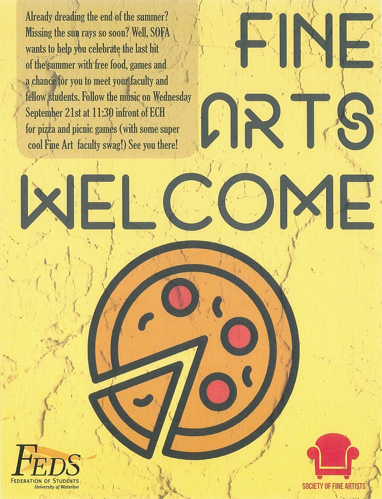 Poster for Fine Arts welcome pizza lunch