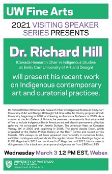 UW Fine Arts lecture series poster presenting Dr. Richard Hill