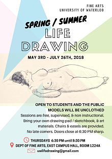 Poster for spring 2018 life drawing sessions