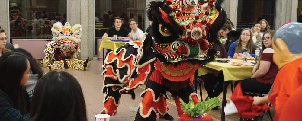 Photograph of lion dancers at our Lunar New Year event in V1