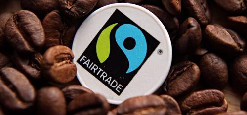 Coffee beans with fairtrade logo