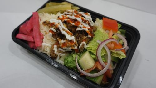 large shawarma box with rice and salad and chicken