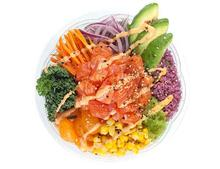 Classic salmon poke bowl from Rolltation located in DC Bytes