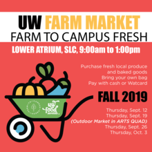UW Farm Market, Farm to campus Fresh, Lower Atrium, SLC. Purchase fresh local produce and baked goods. Bring your own bag. Pay with cash or Watcard. Sept 12, Sept 19 in arts quad, Sept 26, Oct. 3