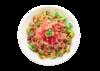 Poke bowl with crabmeat salad, edamame, green onion, tobiko, tempura bits and sriracha mayo