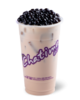 Chatime cup with milk tea and tapioca pearls