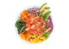 Poke bowl with salmon, kale, red onion, carrot, tangerine, sweet corn, avocado, wasabi tobiko, tempura bits, sriracha mayo