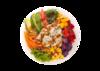 Poke bowl with tofu, green lettuce, carrot, red pepper, corn, sweet potato, diced mango, avocado, sesame, korean citrus