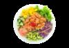 Poke bowl with salmon, lettuce, cucumber, edamame, ginger, diced mango, tobiko, green onion, tempura bits, miso sauce
