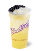 Chatime cup with peach juice, tapioca pearls and coconut jelly