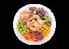 Poke bowl with shrimp, cabbage, cucumber, carrot, edamame, sweet corn, kani salad, tempura bits, teriyaki mayo