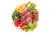 Poke bowl with tuna, green lettuce, red pepper, tamago, avocado, seaweed salad, lotus chips, wasabi mayo
