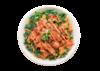 Poke bowl with salmon, kale, jalapeno, green onion and sriracha mayo